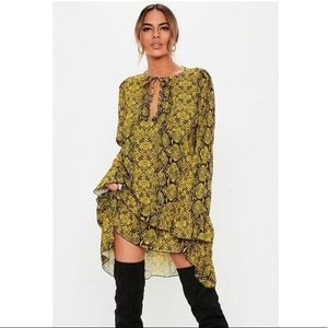 MISSGUIDED Yellow Snake Print TieNeck Smock Dress